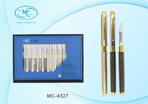 Ручка шариковая 1мм Basir Синяя поворотный механизм Черный/Золотой металлический корпус