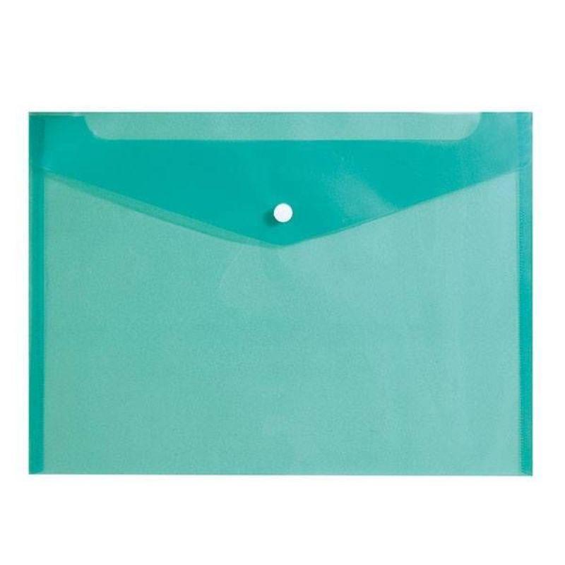 Папка-конверт А4 на кнопке 150мкм зеленый