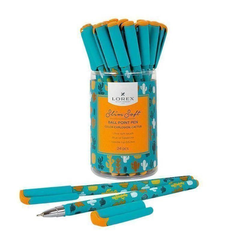Ручка масляная 0,5мм синяя Color Explosion Cactus Slim Soft прорезиновый корпус игловидный наконечн