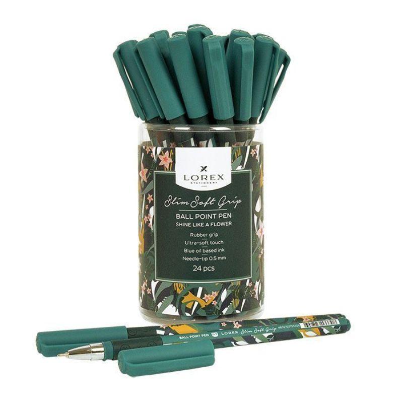 Ручка масляная 0,5мм синяя Shine Like A Flower Slim Soft Grip прорезиновый корпус игловидный