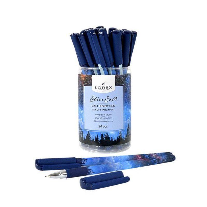 Ручка масляная 0,5мм синяя Sky Of Stars Night Slim Soft прорезиновый корпус игловидный наконечник