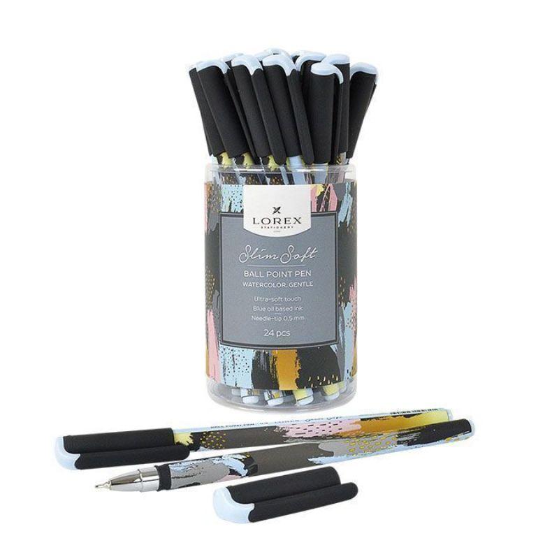 Ручка масляная 0,5мм синяя Watercolor Gentle Slim Soft прорезиновый корпус игловидный наконечник