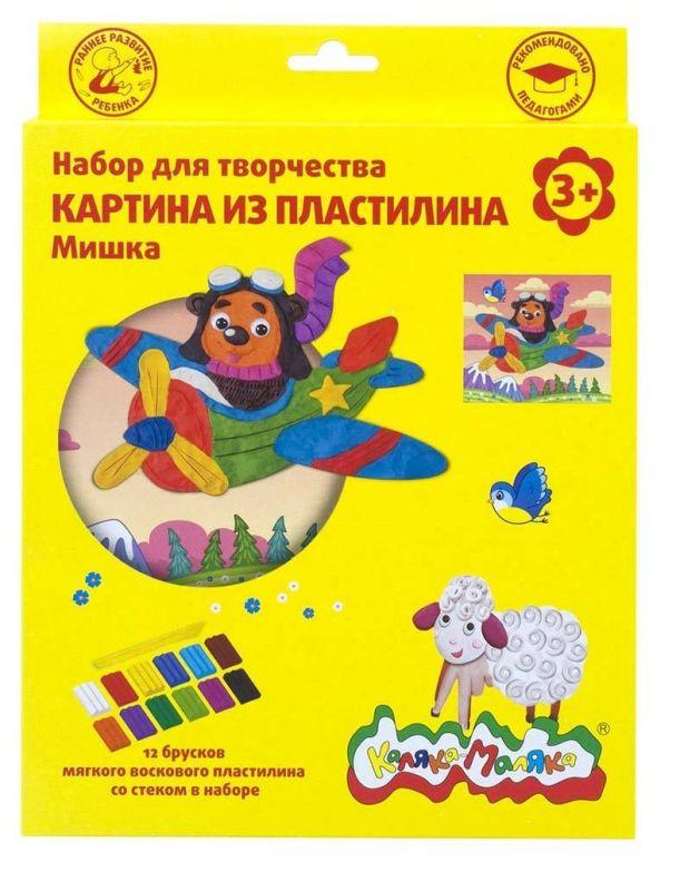 Картина из пластилина Мишка восковой пластилин 12 цветов