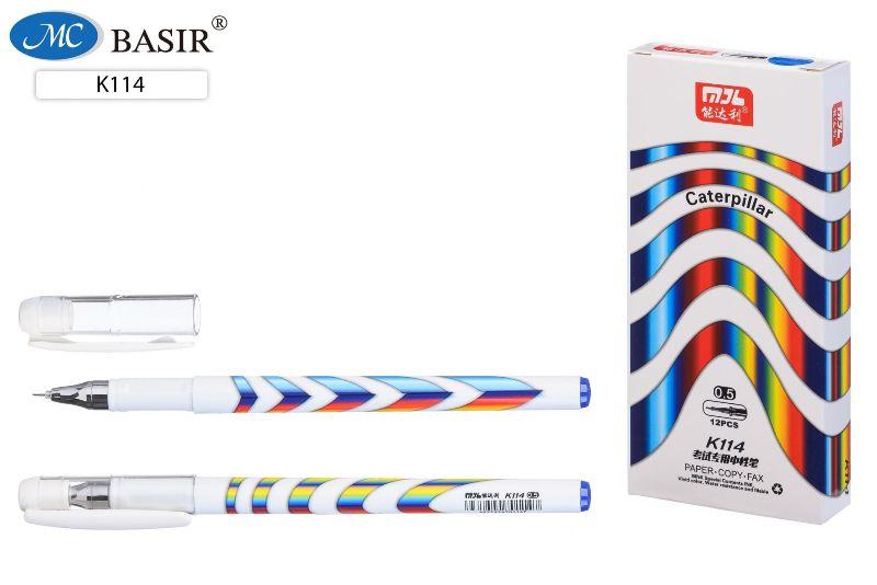 Ручка гелевая 0,5мм СИНЯЯ Caterpillar белый корпус с радужной винтовой полоской, игольчатая