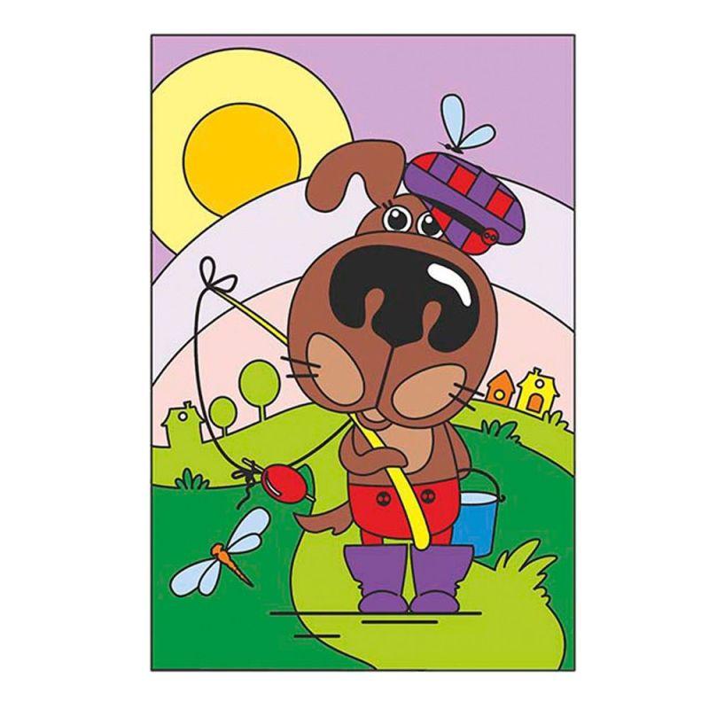 Картина по номерам на картоне Песик-рыболов