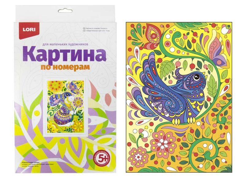 Картина по номерам на картоне Птичка
