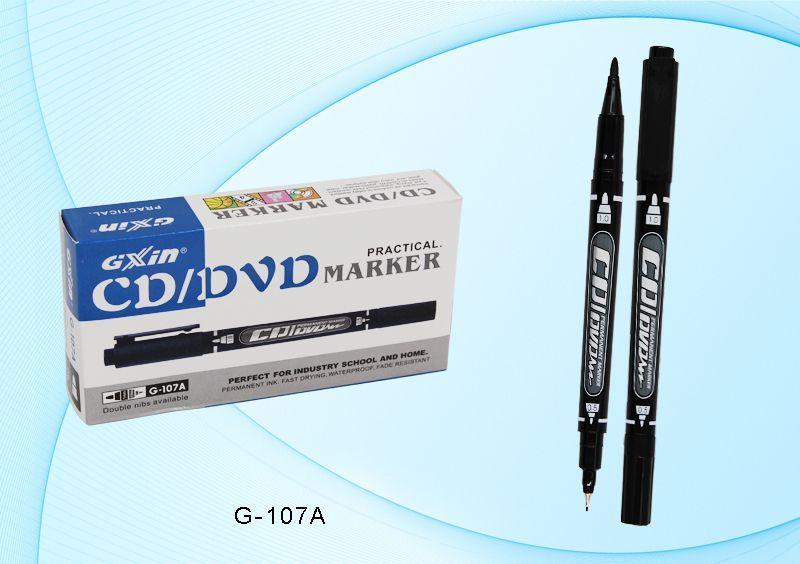 Маркер перм 2-х сторонний, для CD/DVD Чёрный, наконечники острый 1мм и супертонкий 0,5мм