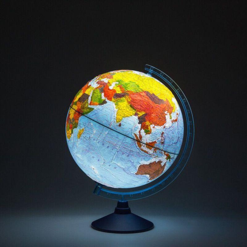 Глобус интерактивный d=250мм Физико-политический рельефный с подсветкой от батареек