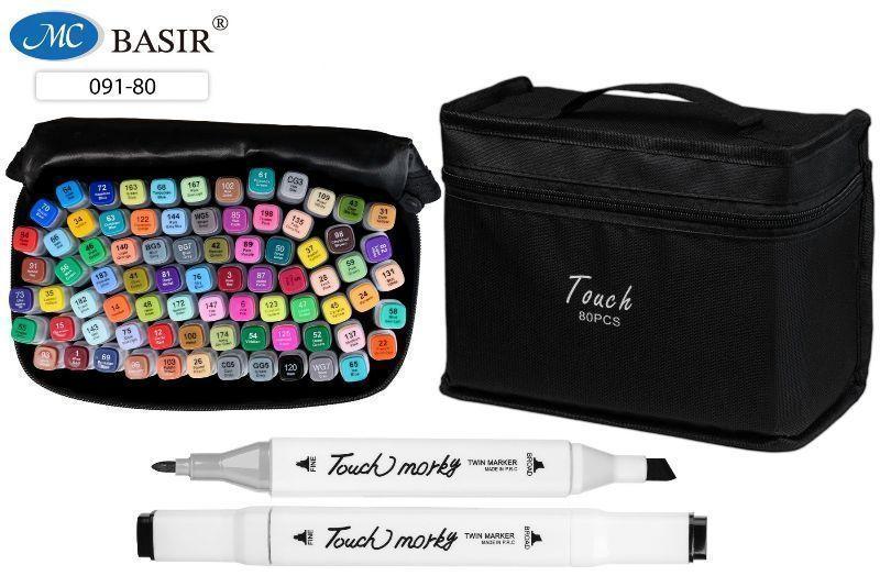 Набор скетчмаркеров 80 цветов двусторонные 1-7мм в черной тканевой сумке