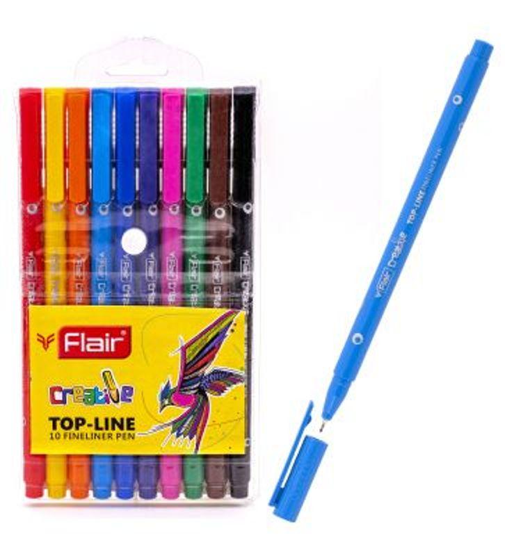 Набор капиллярных ручек 10цв 0,4мм Flair Creative смываемые