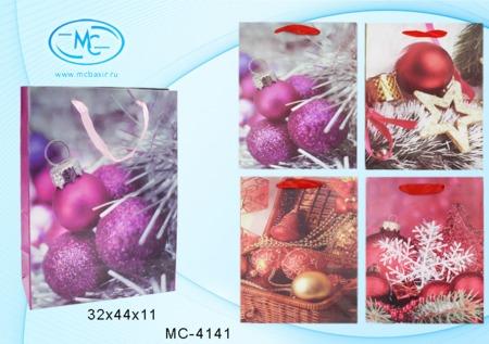 Пакет подарочн 32х44х11см С Новым Годом ассорти