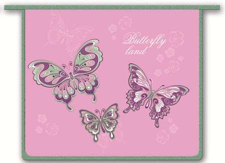 Папка А5 д/тетрадей молния сверху Три бабочки