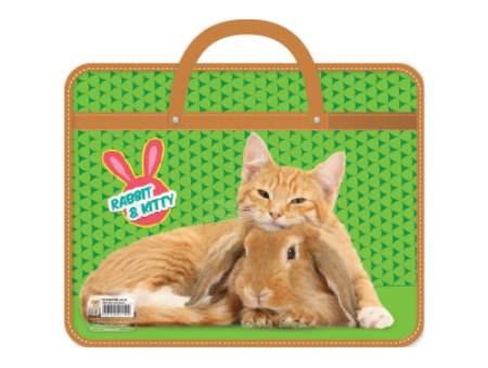 Папка А4 с ручками 33х26х7,5см Кролик и котенок