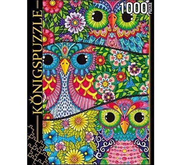 Пазлы 1000эл «Цветные совы»