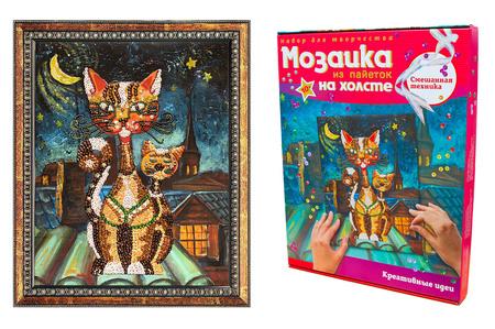 Мозаика из пайеток на холсте «Коты»
