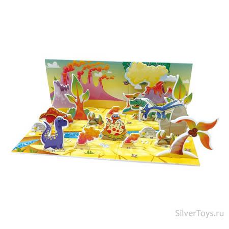 3Д пазлы Мир динозавров (24дет) 28х11х10 см