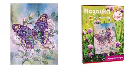 Мозаика из пайеток на холсте «Бабочка»
