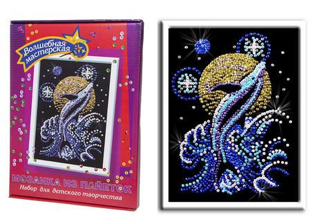 Картина из Пайеток. Лунный дельфин
