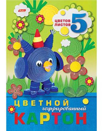 Цв картон А4 гофрирован 5л 5цв «Совенок»