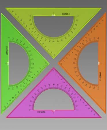 Треугольник 45/16см Пласт+ транспортир флю прозр