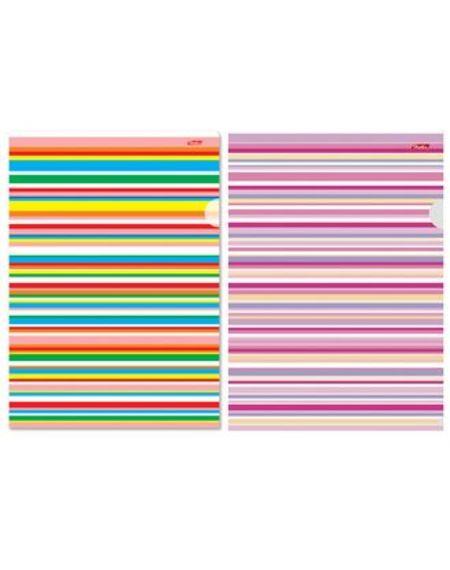 Папка-уголок А4ф Hatber «Цветные полоски» 180мкм