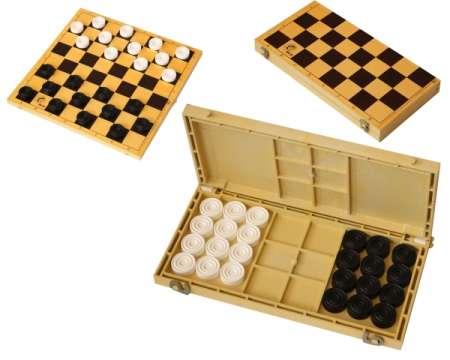 Шашки с шахматной доской из пластика высота 28мм