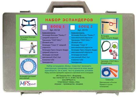 Набор эспандеров в чемод «Боец 2» (6 предметов)