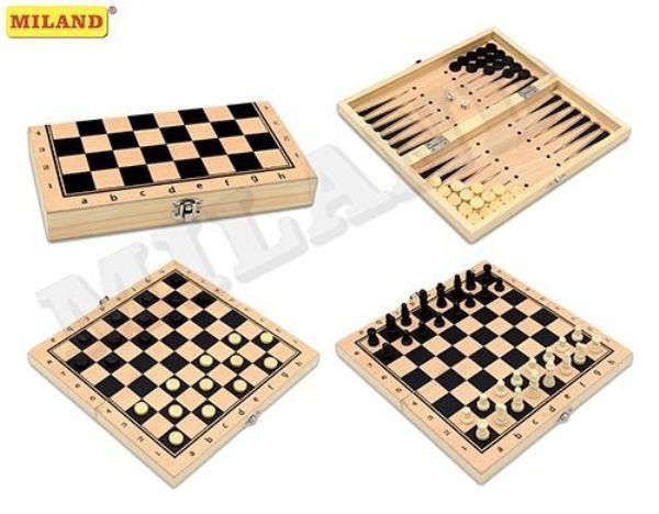 Шахматы,нарды,шашки 3в1 дер, 29см поле
