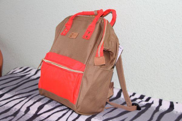 Рюкзак молодежный 34х23х15см Хаки с оранжевым