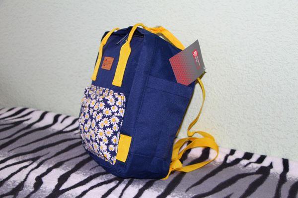 Рюкзак молодежный 28х22х9см Ромашки на синем