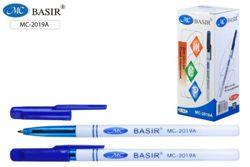 Ручка шариковая 1мм Basir Синяя белый корпус синий колпачок