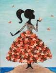 Мозаика из пайеток на холсте «Девочка с бабочкой»