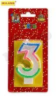 Свеча д/торта «Цифра 3» с разноцветной окантовкой с блестками