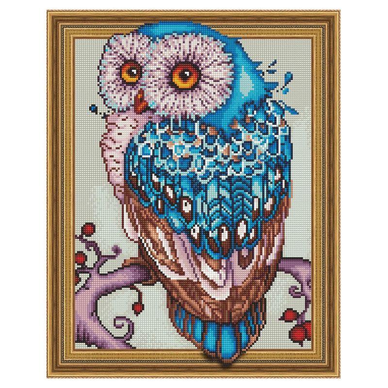 Картина из кристаллов 3D 40х50см Мудрая сова (30 цветов)