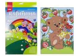Картина по номерам на картоне Мишка-сладкоежка