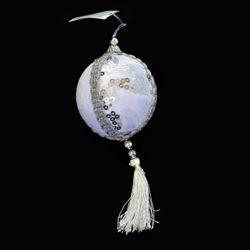 Украшение декоративное Подвеска 25см, 4 вида, Бело-серебряное
