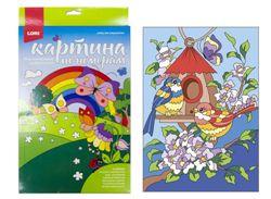 Картина по номерам на картоне Весенние птички