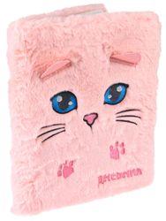 Дневник 1-11 48л 7БЦ Розовый котик с ушками (мех с вышевкой, аппликация, ляссе)
