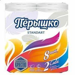 Туалетная бумага Перышко Standart 2 слоя белый цвет (8 рулонов в спайке)