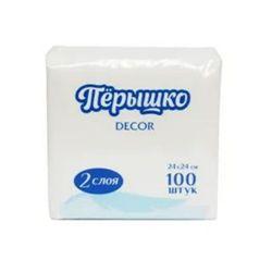 Салфетки бумажные Перышко Dekor 24х24 Белые 2 слоя 50 листов