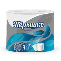 Туалетная бумага Перышко Comfort 3 слоя белый цвет (4 рулона в спайке)