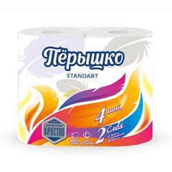 Туалетная бумага Перышко Standart 2 слоя белый цвет (4 рулона в спайке)