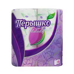 Полотенца бумажные Перышко Melody 2 слоя белый цвет (2 рулона в спайке)