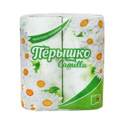 Полотенца бумажные Перышко Camilla 2 слоя белый цвет (2 рулона в спайке)