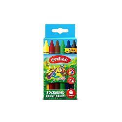 Восковые карандаши 6цв Creativiki круглые