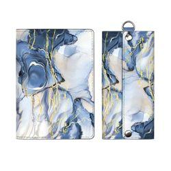 Обложка для паспорта + ключница Наппа синий мрамор