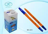 Ручка шариковая 1мм «Basir» Синяя (желтый корпус)